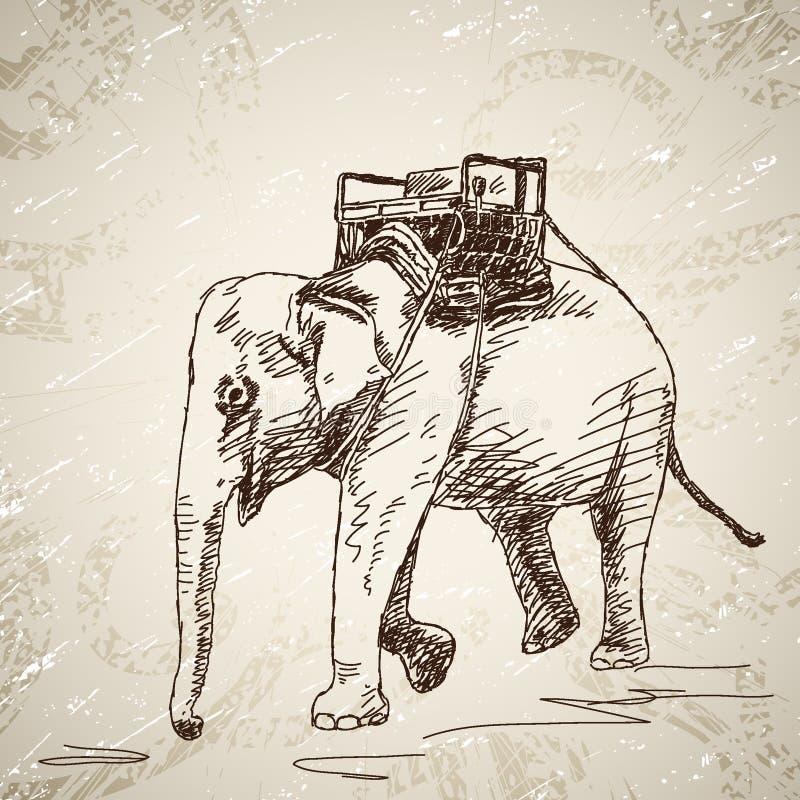 Elefant med stol stock illustrationer