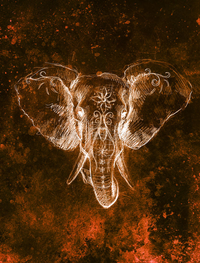 Elefant mit Blumenverzierung, Bleistift-Zeichnung auf Papier Farbeffekt und Computercollage vektor abbildung