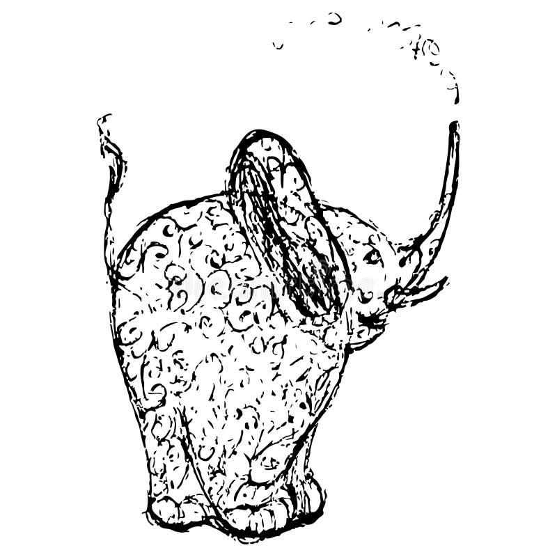 elefantschwarzweissgekritzeldruck mit ethnischen mustern
