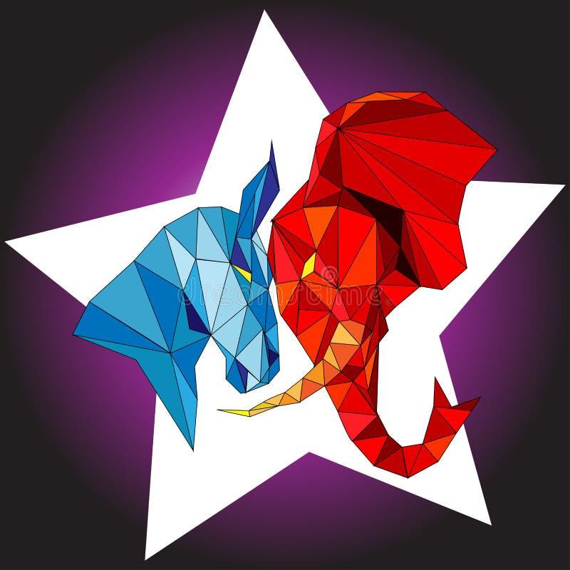 Elefant- och åsnapolitikvektorn stock illustrationer