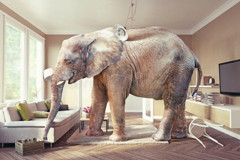 Elefant och ölet vektor illustrationer