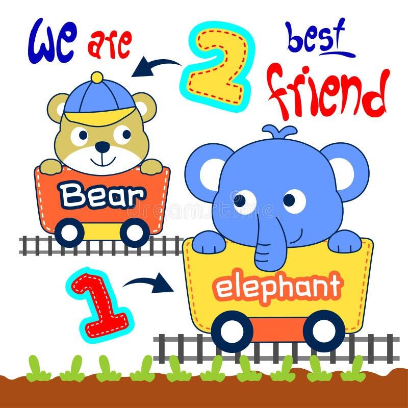 Elefant och björn vektor illustrationer