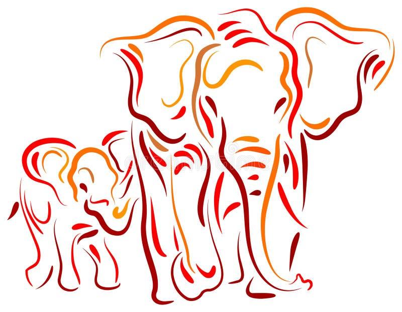 Elefant och kalv stock illustrationer