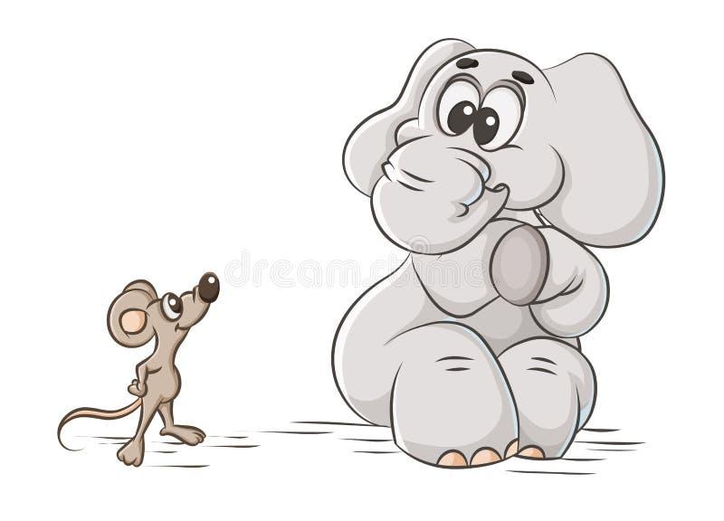 Elefant och mus stock illustrationer