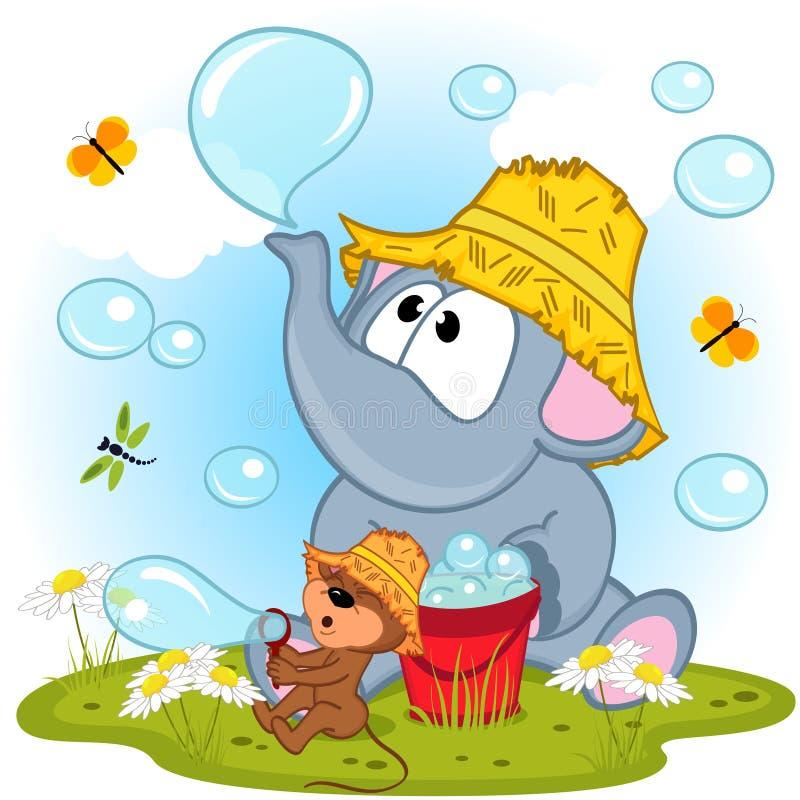 Elefant och mus blåste upp bubblor royaltyfri illustrationer