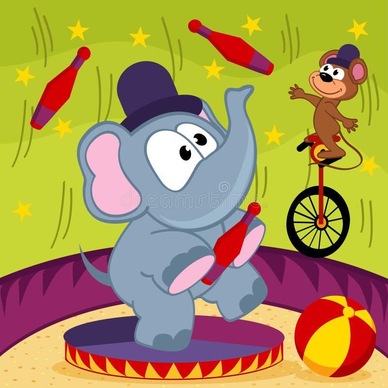 Elefant- och muscirkus vektor illustrationer