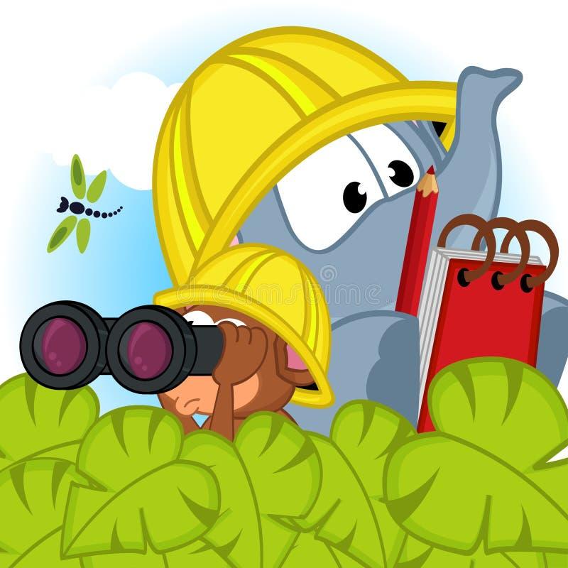 Elefant- och musutforskare stock illustrationer