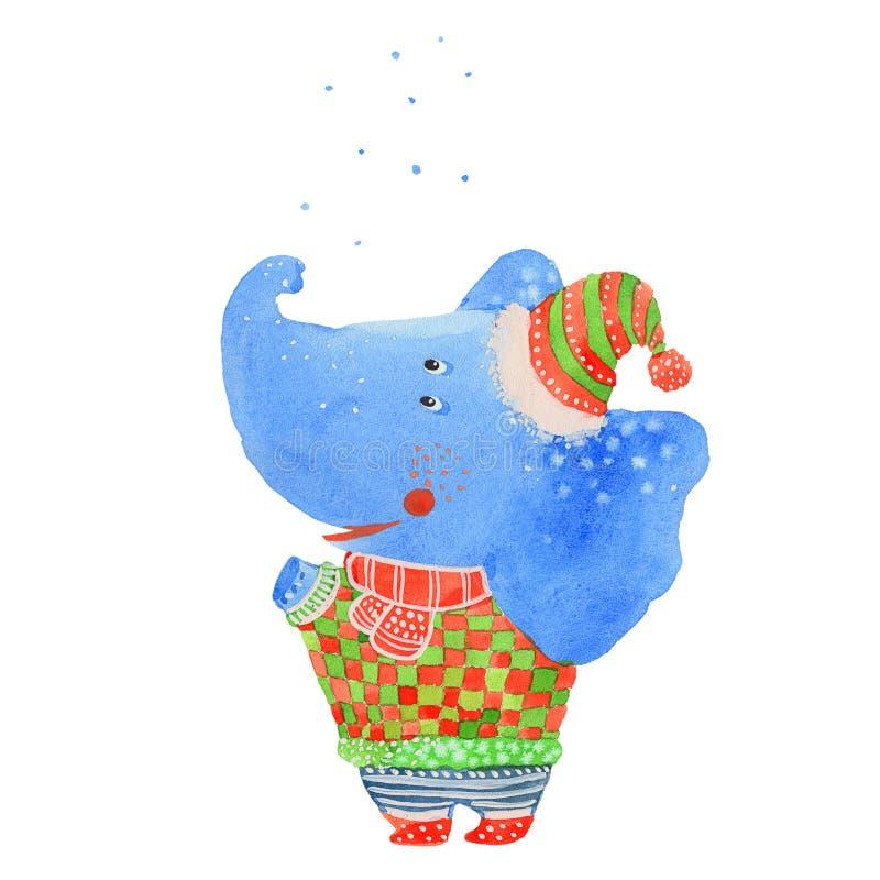 Elefant och snö stock illustrationer