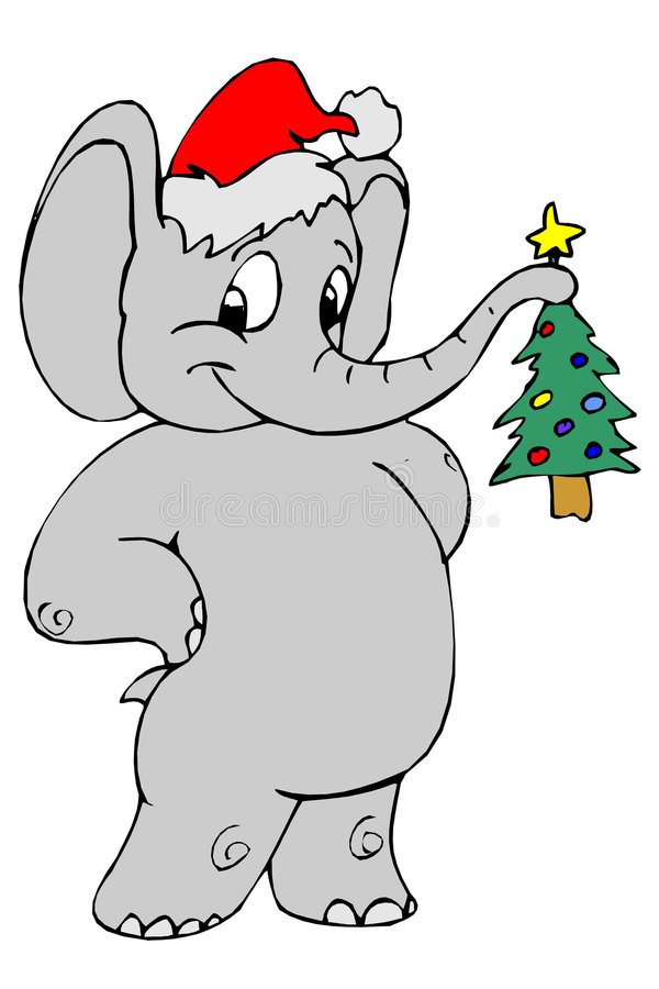 elefant santa royaltyfri illustrationer