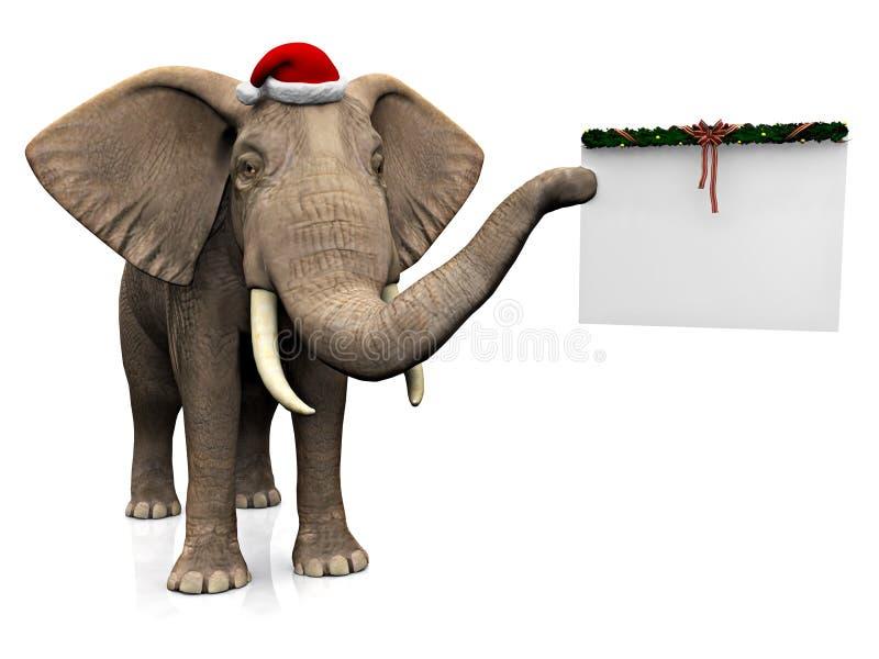 Elefant som ha på sig den Santa hatten. royaltyfri illustrationer