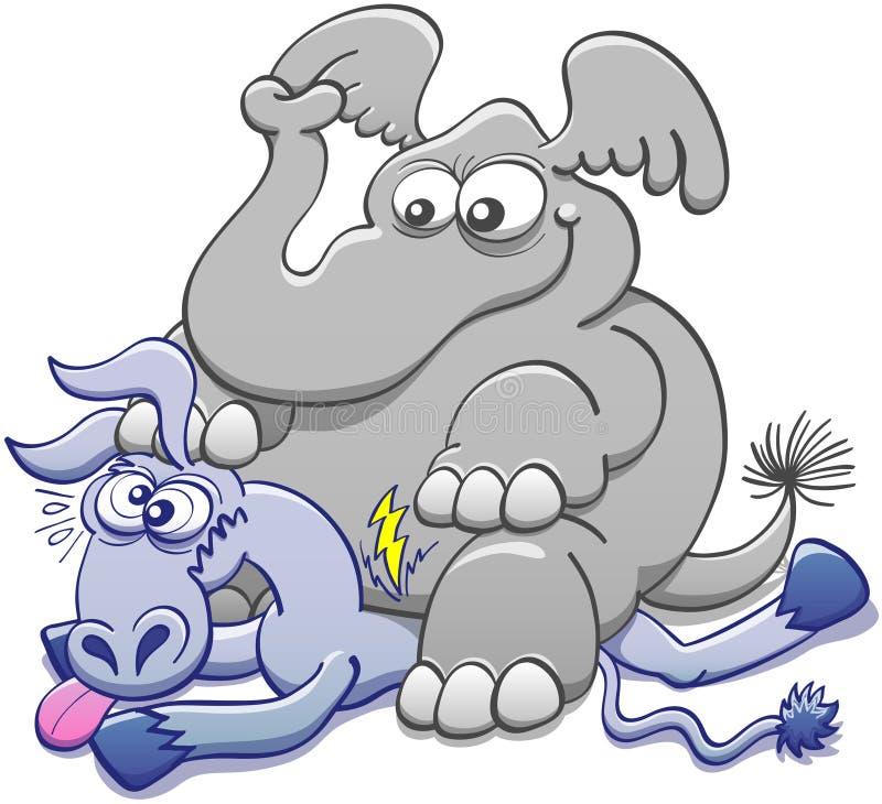 Elefant som placeras på en åsna och att krossa den vektor illustrationer