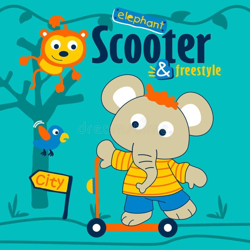 Elefant som spelar den roliga tecknade filmen för sparkcykel, vektorillustration vektor illustrationer