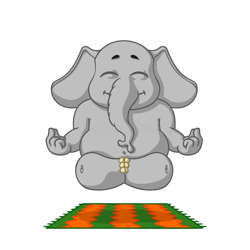 Elefant tecken Gör yoga Stor samling av isolerade elefanter Vektor tecknad film royaltyfri illustrationer