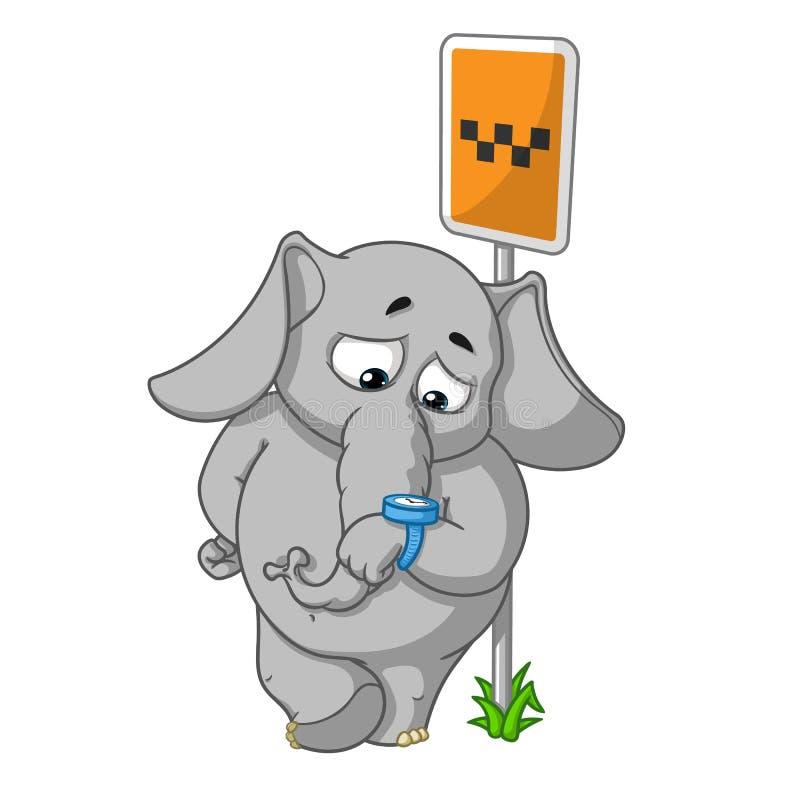 Elefant tecken Vänta på en taxi på ett stopp som ser klockan Stor samling av isolerade elefanter Vektor tecknad film stock illustrationer
