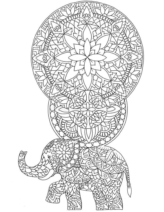 Elefant- und Blumenmuster und Verzierungen, Mandalen tätowierung lizenzfreie abbildung