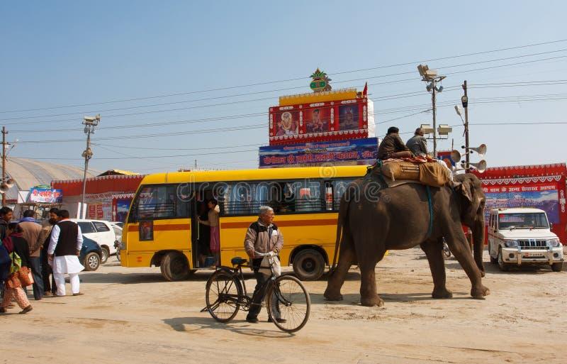 Elefant und die indischen Leute auf der Bushaltestelle stockfotografie