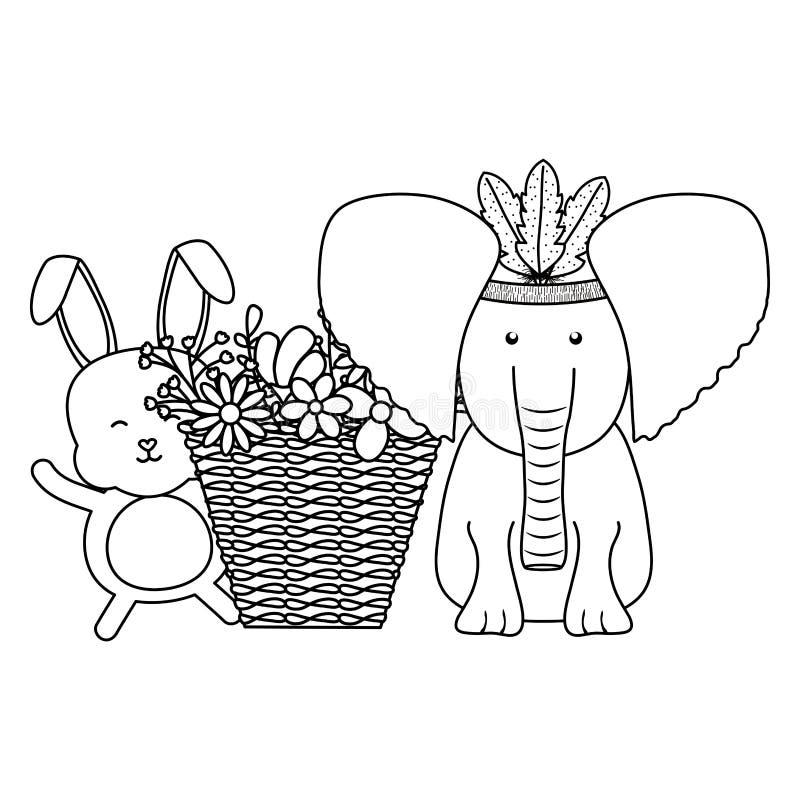 Elefant und Kaninchen mit Federhut und Korb von Blumen lizenzfreie abbildung