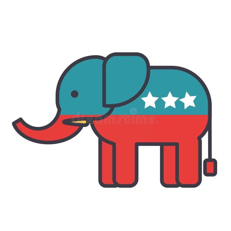 Elefant, USA, flaches Zeilendarstellung, Konzeptvektor der republikanischen Partei lokalisierte Ikone lizenzfreie abbildung