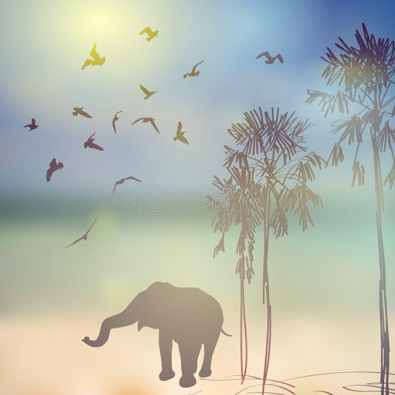Elefant, Vögel, Palmenschattenbild auf sonnigem Himmel und lizenzfreie abbildung