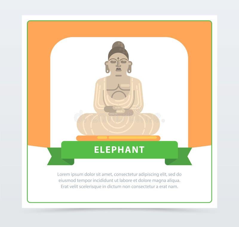 Elefantbaner, jätte- staty av beståndsdelen för Buddhalägenhetvektor för website eller mobil app vektor illustrationer