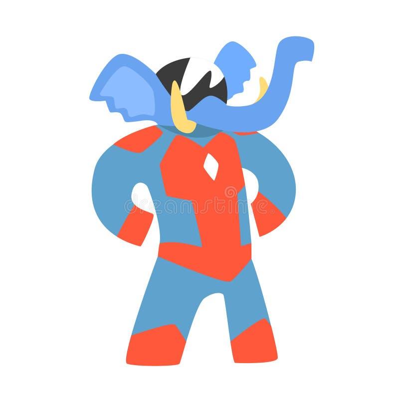 Elefantdjur som kläs som Superhero med tecken för vigilante för udde ett komiker maskerat geometriskt stock illustrationer