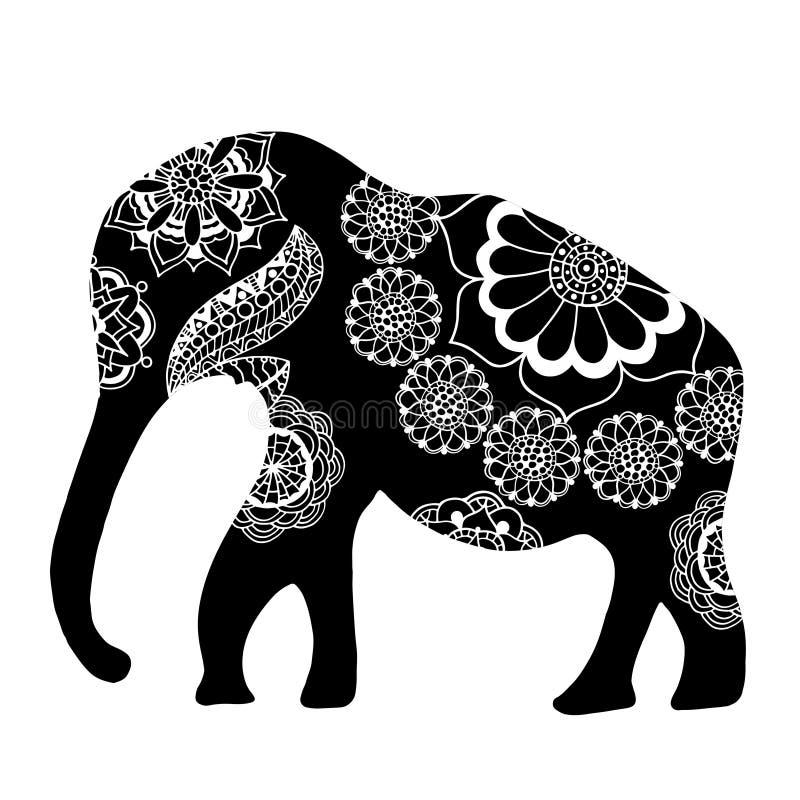 Elefante étnico negro ilustración del vector