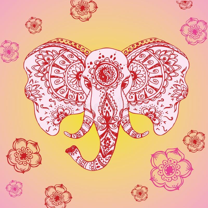 Elefante abstracto en mehndi indio del estilo stock de ilustración