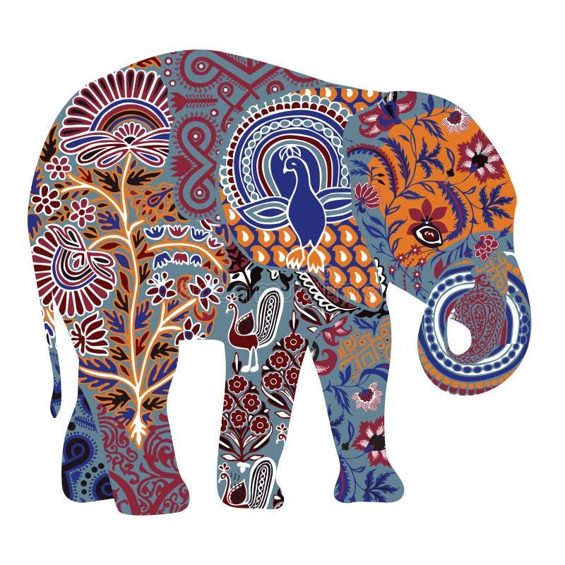 Elefante adornado en un fondo blanco stock de ilustración