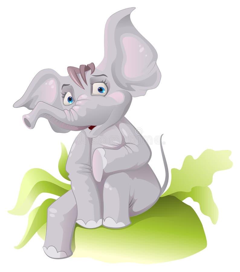 Elefante africano divertido con los oídos grandes stock de ilustración