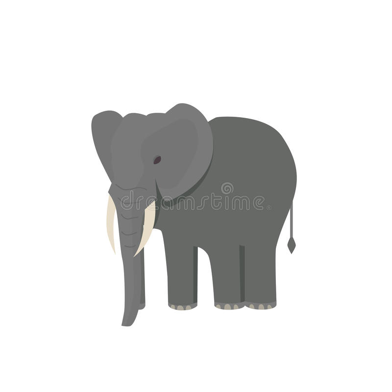 Elefante africano pequeno bonito isolado no branco Ilustração africana animal do vetor do jardim zoológico do bebê ilustração royalty free