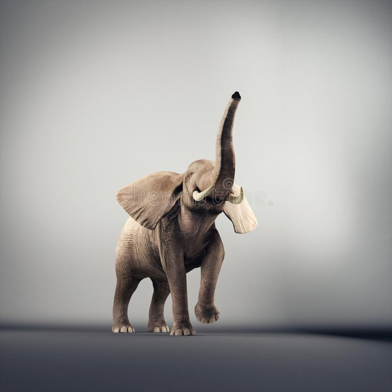 Elefante alegre en un estudio stock de ilustración