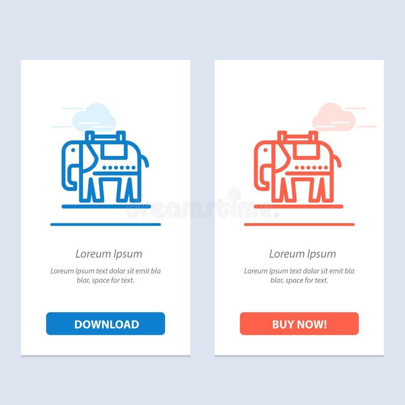 Elefante, americano, transferência azul e vermelha dos EUA e para comprar agora o molde do cartão do Widget da Web ilustração royalty free