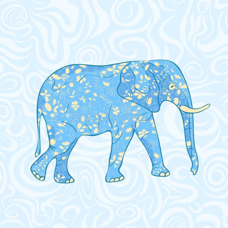 Elefante azul de la historieta ilustración del vector