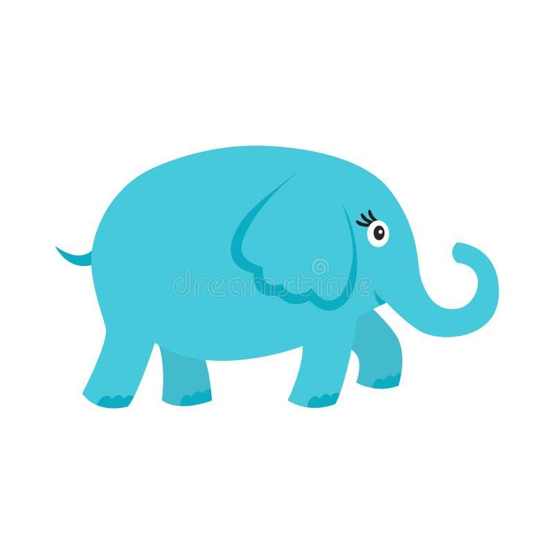 Elefante azul dos desenhos animados bonitos isolado no fundo branco ilustração royalty free