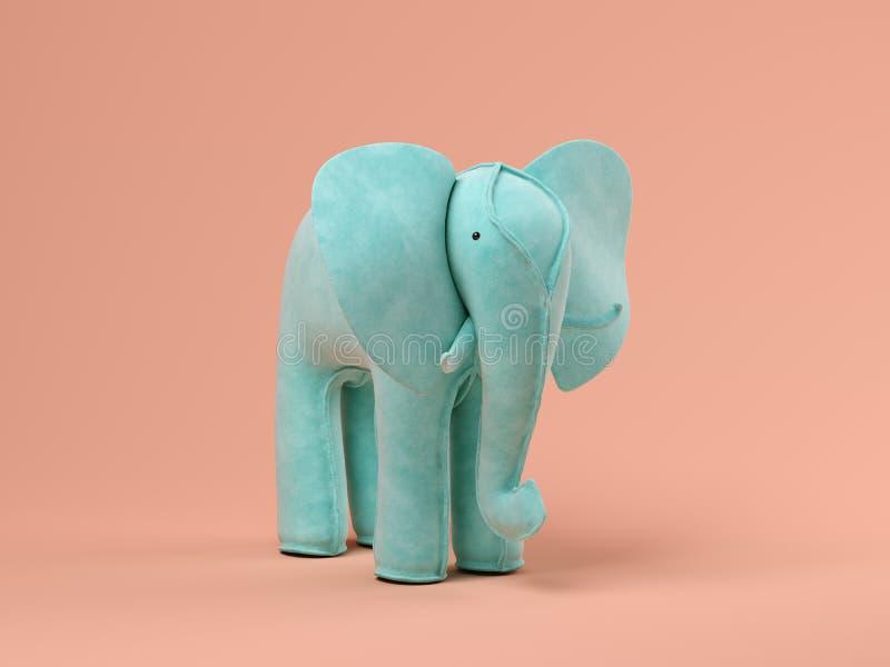 Elefante azul na ilustração cor-de-rosa do fundo 3D ilustração do vetor
