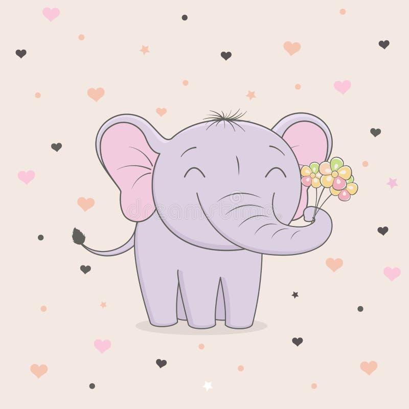 Elefante bonito com as flores no fundo dos corações Gráficos do ` s das crianças ilustração do vetor