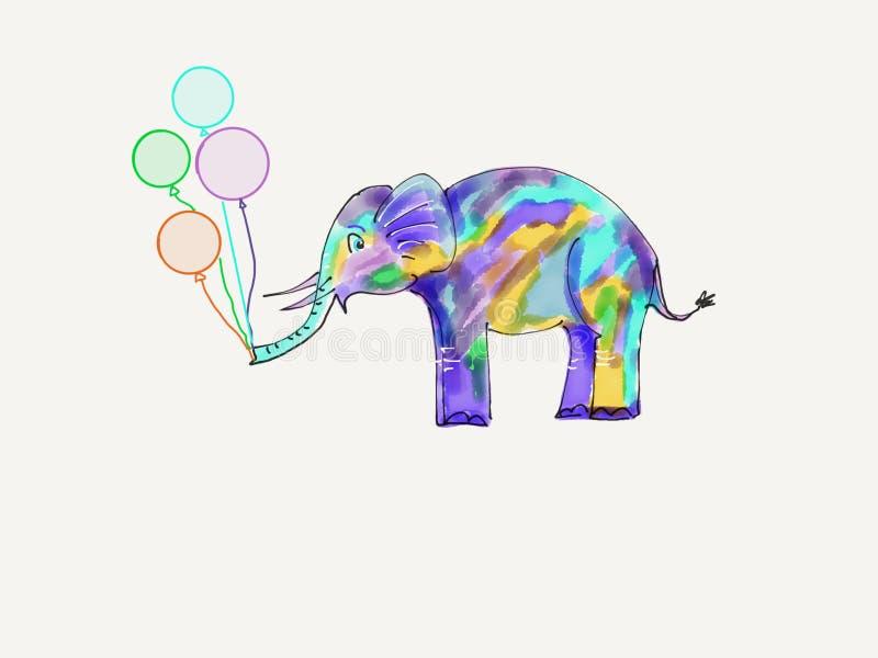 Elefante bonito com balões ilustração royalty free