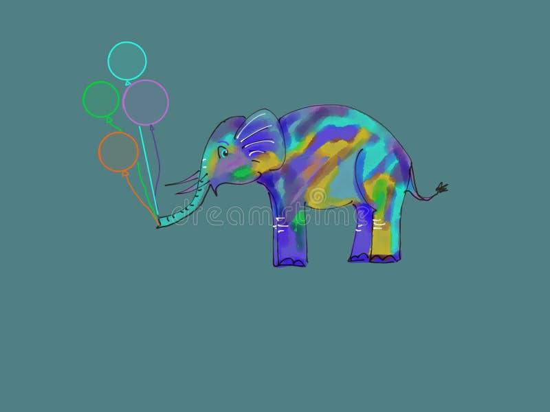 Elefante bonito com balões imagens de stock