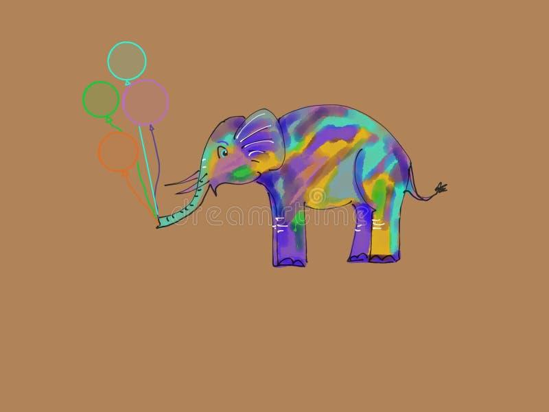 Elefante bonito com balões fotografia de stock royalty free