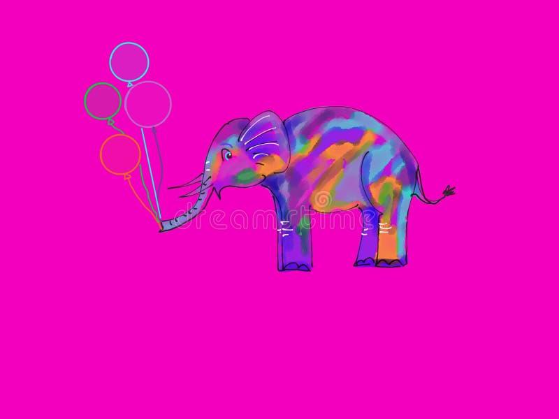 Elefante bonito com balões fotografia de stock