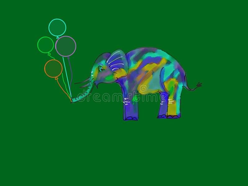 Elefante bonito com balões imagem de stock royalty free