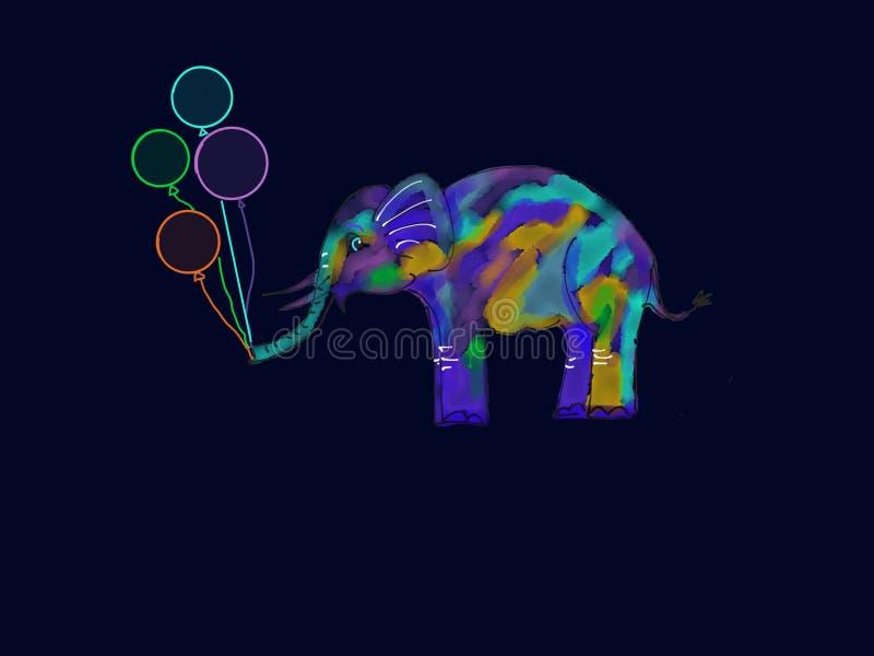 Elefante bonito com balões fotos de stock