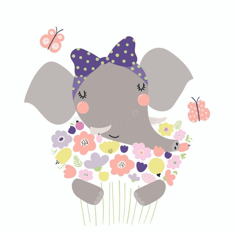 Elefante bonito com flores ilustração do vetor