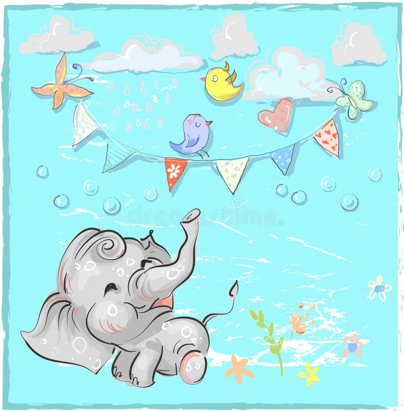 Elefante bonito com ilustração tirada mão do vetor do balão Pode ser usado para a cópia do t-shirt, projeto da forma do desgaste  ilustração stock