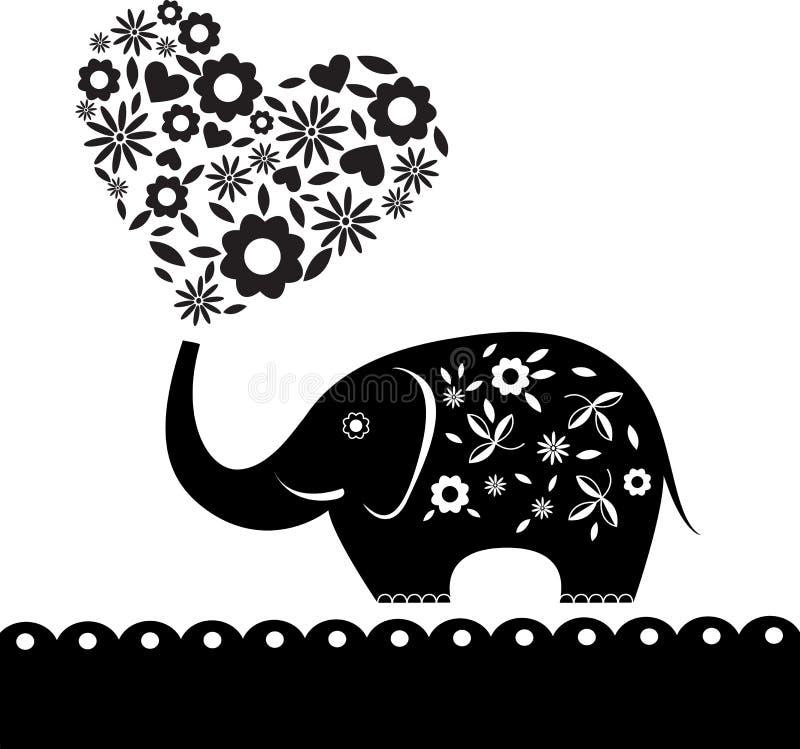 Elefante bonito com o cartão do coração da flor (60) .jpg ilustração do vetor