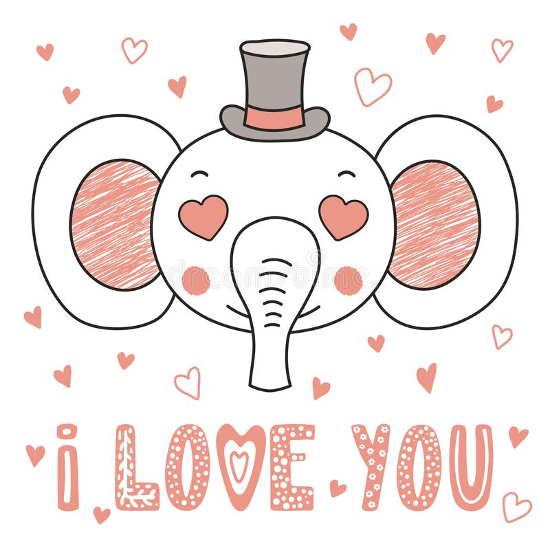 Elefante bonito com os olhos dados forma coração ilustração royalty free