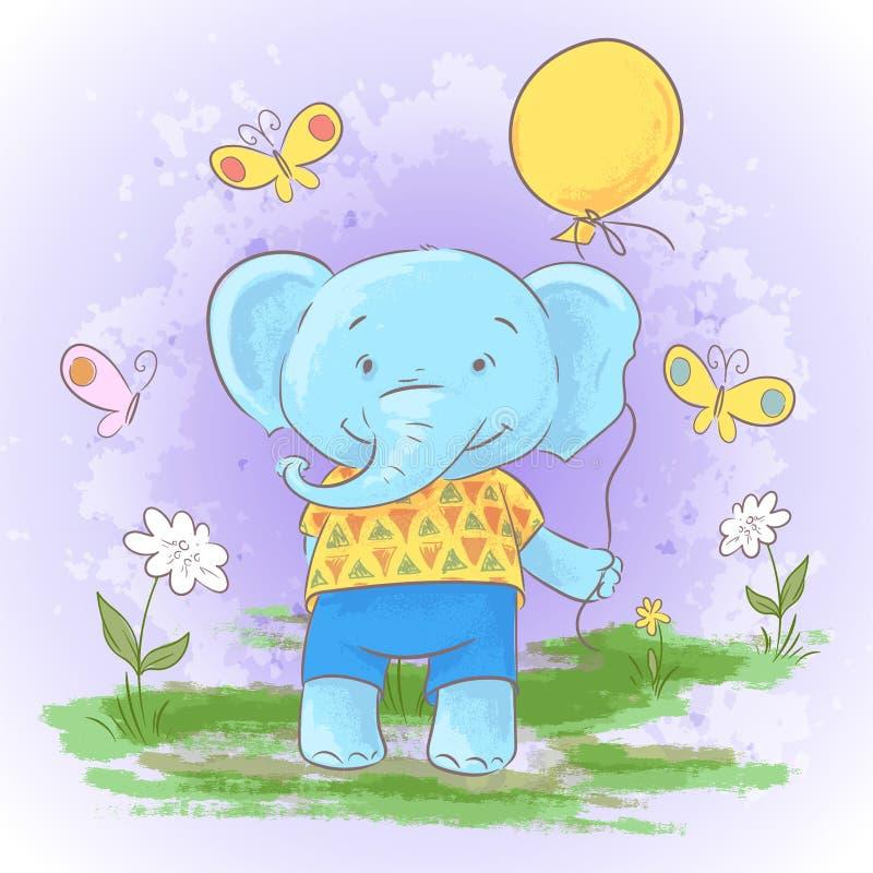 Elefante bonito do bebê dos desenhos animados do cartão da ilustração ilustração stock