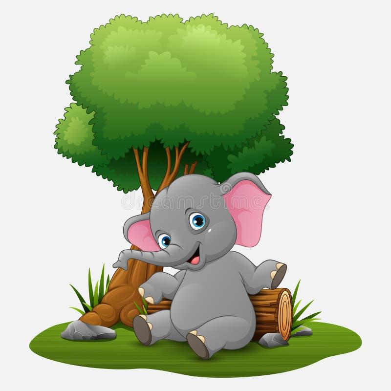 Elefante bonito do bebê que senta-se sob a árvore ilustração do vetor