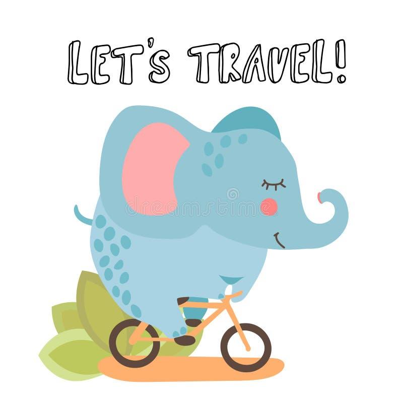 Elefante bonito do vetor dos desenhos animados, montando uma bicicleta e rotulando sobre o curso O verão caçoa a ilustração com o ilustração royalty free