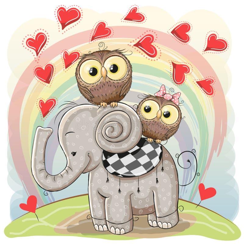 Elefante bonito dos desenhos animados e duas corujas ilustração stock